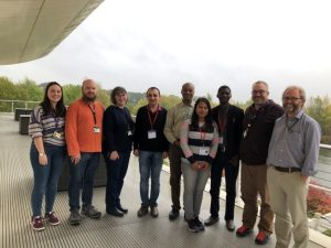 The hosts (Prof. Neil Boonham and Dr. Adrian Fox, 1st and 2nd from right) with colleagues (L-R : Ines Vazquez, Ben Barret, Sioban Ostoja-Starzewska, Stephen Forde- 5th from left) joining Mohamad Halabi, Parinda Barua and John Oladokun during the end of training farewell at Fera Science Limited balcony