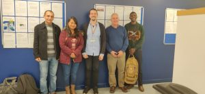 Trio on an invited visit to establish new collaboration with Dr. Ville Friman (University of York, 3rd from Left) and Dr. John Elphinstone (Bacteriologist at Fera Science Limited, 2nd from right)