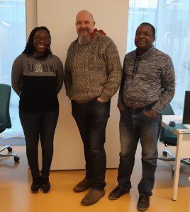 Rose Tafadzwa Masekesa and Leke Walter Nkeabeng with CONNECTED Management Board member Professor Richard Hopkins